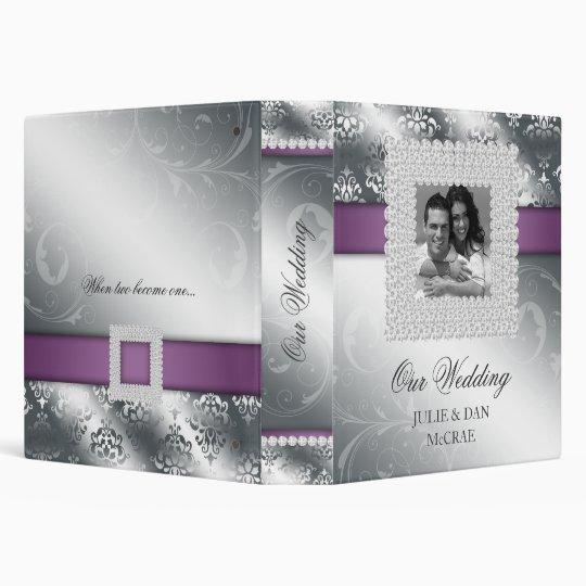 Silver Wedding Jewels Purple Silver Photo Vinyl Binders