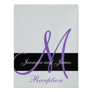 "Silver Wedding Reception Purple Monogram Names 4.25"" X 5.5"" Invitation Card"