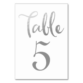 Silver Wedding Table Number Typography Cards