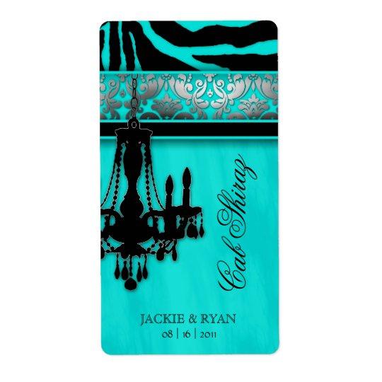Silver Wedding Wine Label Chandelier Zebra Turquoi