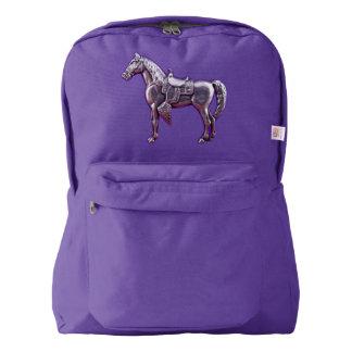SILVER WESTERN HORSE Backpack Purple