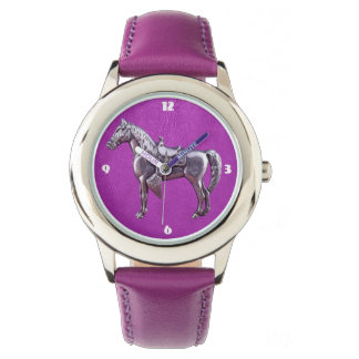 SILVER WESTERN HORSE Purple Leather Watch