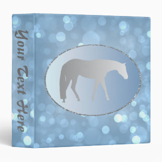 Silver Western Pleasure Horse on Blue Brokeh 3 Ring Binder