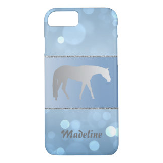 Silver Western Pleasure Horse on Blue Brokeh Case-Mate iPhone Case