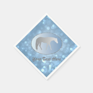 Silver Western Pleasure Horse on Blue Brokeh Paper Napkin
