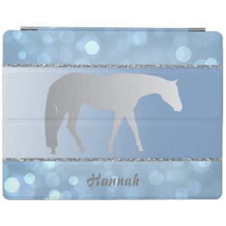 Silver Western Pleasure Horse on Green Brokeh iPad Cover
