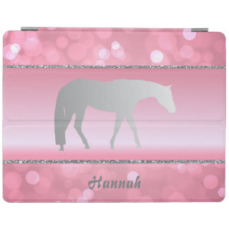 Silver Western Pleasure Horse on Pink Brokeh iPad Cover