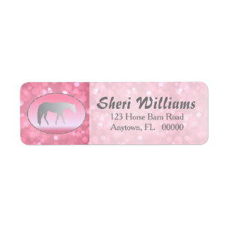 Silver Western Pleasure Horse on Pink Brokeh Return Address Label