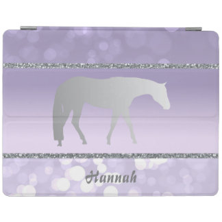 Silver Western Pleasure Horse on Purple Brokeh iPad Cover