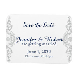 Silver White and Navy Damask Wedding Save the Date Magnet