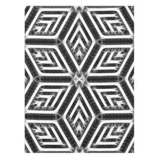 Silver, white, black rhombus geometric pattern tablecloth