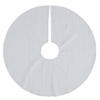 Silver White Chevron Brushed Polyester Tree Skirt