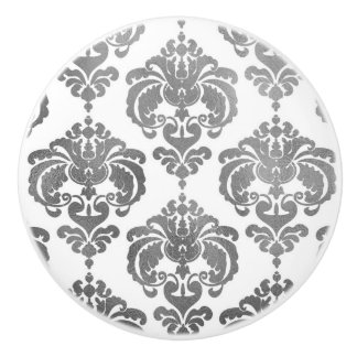 Silver & White Damask Elegant Bedroom Dresser Ceramic Knob