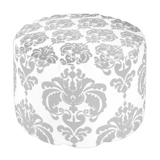 Silver White Damask Pattern Modern Glam Chic Pouf