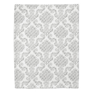 Silver & White Damask Pattern{pick your color} Duvet Cover