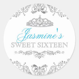 Silver White Damask & Tiara Sweet 16 Sticker