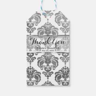 Silver & White Damask Vintage Wedding Event Favor Gift Tags
