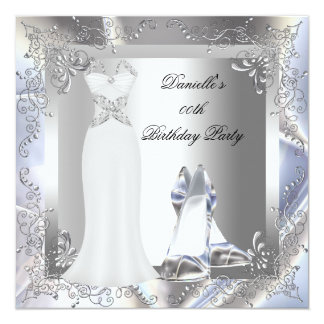 Silver White Dress High Heel Shoes Silver Birthday Card