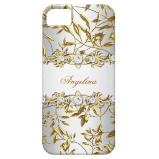 Silver White Faux Gold Diamond Jewel Image iPhone 5 Case