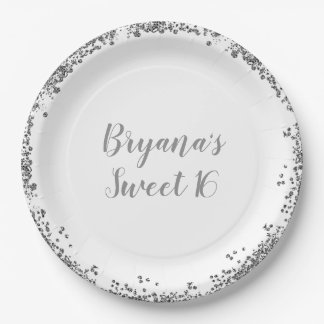 Silver White Glitter Glam Edge Sweet 16 Party Paper Plate