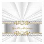 Silver White Gold Elegant Birthday Party Custom Invite