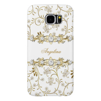 Silver White Gold Faux Diamond Jewel Floral Samsung Galaxy S6 Cases