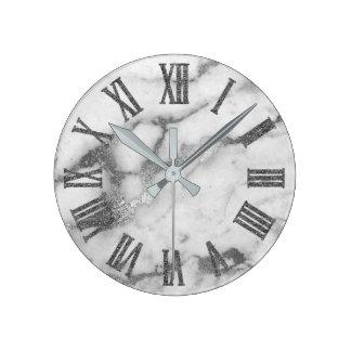 Silver White Gray Carrara Marble Stone Roman Numbe Round Clock