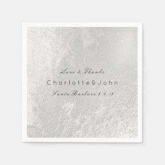 Silver White Gray Metallic Minimal Wedding Party Napkin