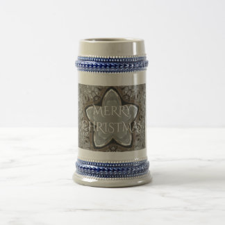 Silver White Gray Shiny Star Merry Christmas Beer Stein