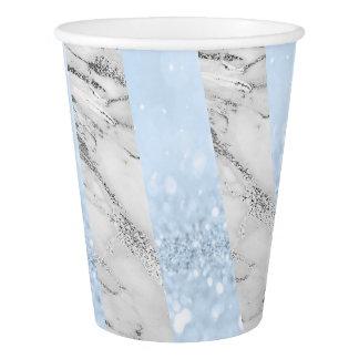 Silver White Grey Marble Stripes White Blue Glitte Paper Cup
