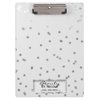 Silver White Shine Elegant Chic Glam Personalized Clipboard