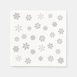 Silver White Snowflakes Pattern Disposable Napkin