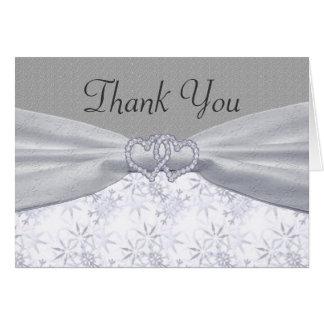 Silver, White Stars & Snowflakes Wedding Card