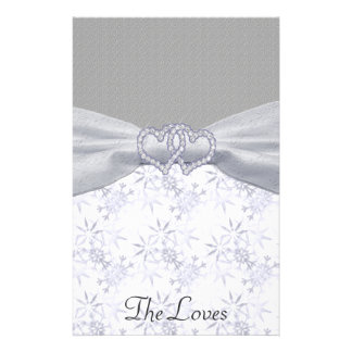 Silver, White Stars & Snowflakes Wedding Customized Stationery
