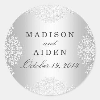 Silver & White Vintage Glamour Wedding Sticker
