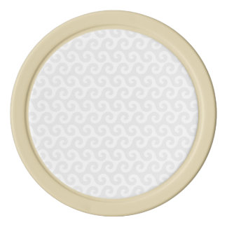Silver & White Waves - Stylish & Fun Pattern Poker Chips