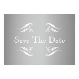 "Silver White Winter Save The Date Card 5"" X 7"" Invitation Card"