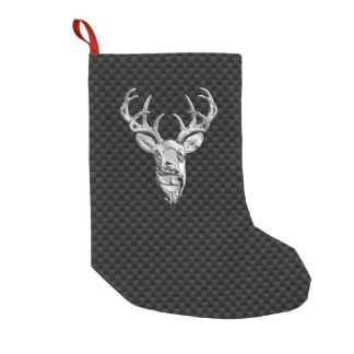 Silver Wild Deer on Carbon Fiber Style Print Small Christmas Stocking