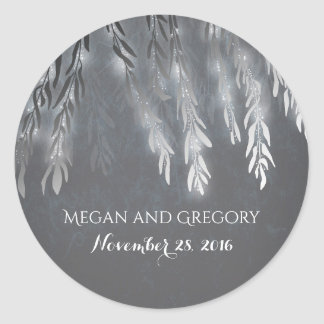 Silver Willow Tree Branches Vintage Wedding Classic Round Sticker
