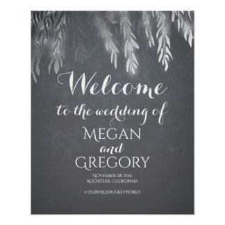 Silver Willow Tree Vintage Wedding Welcome Sign Poster