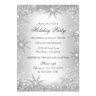 """Silver Winter Wonderland Christmas Holiday Party 2 5"""" X 7"""" Invitation Card"""