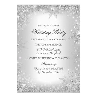 """Silver Winter Wonderland Christmas Holiday Party 5"""" X 7"""" Invitation Card"""