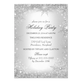 """Silver Winter Wonderland Christmas Holiday Party 4.5"""" X 6.25"""" Invitation Card"""