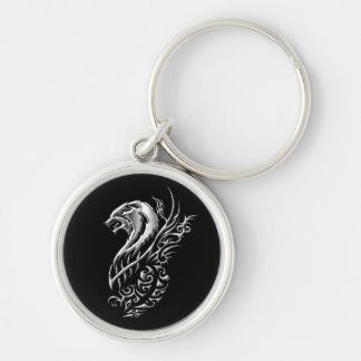 Silver Wolf Black Silver-Colored Round Keychain