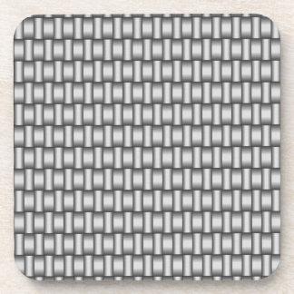 Silver Woven Metallic Plasma Square Coasters
