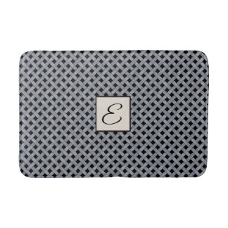 Silver Woven Rattan on Custom Color with Monogram Bath Mat