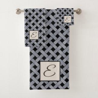 Silver Woven Rattan on Custom Color with Monogram Bath Towel Set