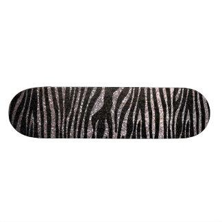 Silver zebra stripe pattern (faux glitter bling) skate board deck
