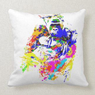 Silverback Lowland Gorilla Splatter Paint Effect Throw Pillow