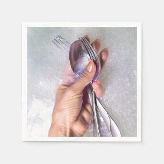 Silverware in Hand Glitter Paper Napkins